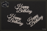 "Tekturka- napis - ""Happy Birthday"" - 3 szt"