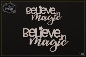 Tekturka - napis - Believe in magic - 2 szt
